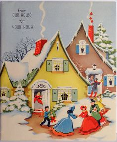 40s Quaint Houses in the Snow-Vintage Christmas Card = I like this as an embroidery pattern. Saved to my computer as it is a sold item.