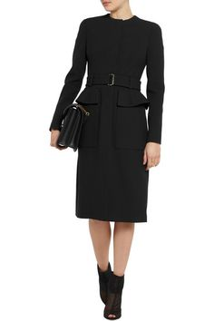 Black mid-weight crepe Snap-fastening cuffs, belt loops, buckled belt, flap pockets, pleated back, fully lined Concealed snap fastenings along front 53% acetate, 47% rayon; lining: 100% silk Dry clean