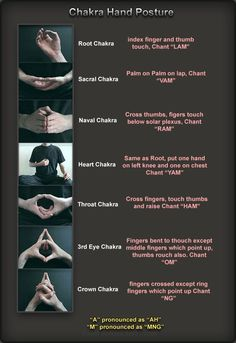 Chakra Hand Postures -- these mudras and bijas (seed sounds) have real physiological basis--I learned these today in yoga and completely work! Yoga Kundalini, Chakra Meditation, Pranayama, Gaia Yoga, Zen Meditation, Yoga For Chakras, Indian Meditation, Sacral Chakra Healing, Meditation Symbols
