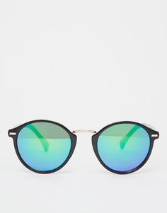 ASOS | ASOS Fine Frame Round Sunglasses With Flash lens at ASOS