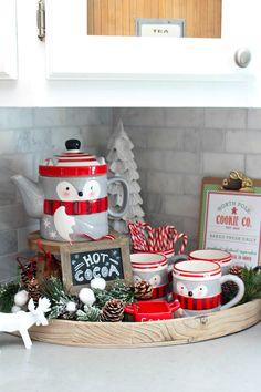 Christmas kitchen decorating ideas.  Cute Christmas hot chocolate bar.  #christmaskitchen  #hotchocolatebar