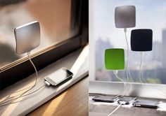 XDModo Solar Window Charger Stick it to a glass window and connect your iDevice. It will charge using solar energy! Be Green! Innovation, Solar Battery Charger, Design3000, Electrical Energy, Shops, Solar Energy Panels, Solar House, Solar Energy System, Cool Gadgets