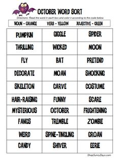 October Parts of Speech Sort - - Re-pinned by @PediaStaff – Please Visit http://ht.ly/63sNt for all our pediatric therapy pins