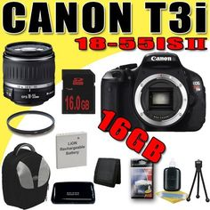 Canon EOS Rebel T3i 18 MP CMOS Digital SLR Camera w/ EF-S 18-55mm f/3.5-5.6 II IS Lens LPE8 Battery / Charger Filter Kit Tripod 16GB DavisMAX Bundle by DavisMAX. $629.55. This DavisMAX Bundle Includes: 1- Canon EOS Rebel T3i 18 MP CMOS Digital SLR Camera w/ EF-S 18-55mm f/3.5-5.6 II IS Lens Brand New USA w/Manufacturer's Supplied Accessories 1- Rechargeable LPE8 Lithium Ion Replacement Battery (Not Original Canon) (Don't Miss out on a Memory!) 1- 16GB SDHC Sec...