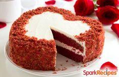 This #redvelvet #cake #recipe uses yogurt instead of eggs for a moist, low-fat #dessert! | via @Spark Recipes #ValentinesDay valentine cake, cakes, redvelvet cake, food, valentin cake, red velvet, yogurt cake, cake recipes, dessert