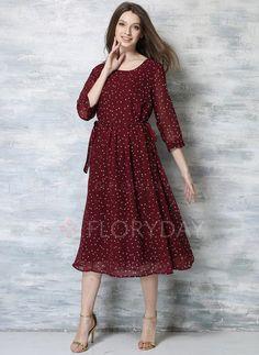 Dresses - $52.12 - Polyester Polka Dot 3/4 Sleeves Mid-Calf Vintage Dresses (1955103406)