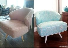 s 14 shocking furniture transformations using fabric, painted furniture, reupholster, 80 Year Old Couch Looks Brilliant in Blue