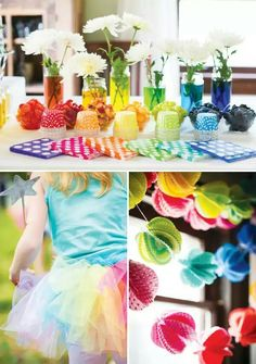 Rainbow vases white flowers