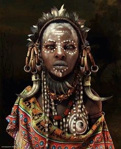 Http://Travelnerdnici.Com more cg art, mursi tribe, african tribal makeup, Cara Tribal, Tribal Face, African Tribes, African Women, African Art, African Tribal Makeup, African Dance, African Fabric, African Dress