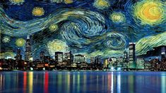 Cityscape and starry night painting wallpaper, A Starry Night by Vincent Van Gogh • Wallpaper For You HD Wallpaper For Desktop & Mobile