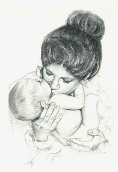 Gustav Klimt - Mother and Child Boy Drawing, Painting & Drawing, Pencil Art Drawings, Drawing Sketches, Drawing Ideas, Mothers Day Drawings, Children Sketch, Mother Art, Mother And Child Drawing