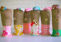 Burlap Wine Bags Colorful Vibrant  Bridesmaid by habitationBoheme, $18.00