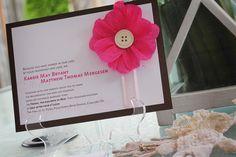 Wedding Invitation - Modern with handmade crepe paper flower embellishment. $5.00, via Etsy.
