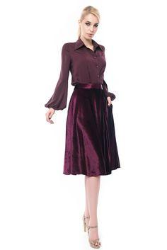 Purple Skirt, Chocker, Dark Purple, Velvet, Formal Dresses, Skirts, Sleeves, Fashion, Atelier