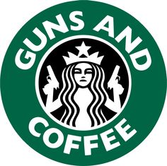 Guns and Coffee Starbucks Bumper Sticker