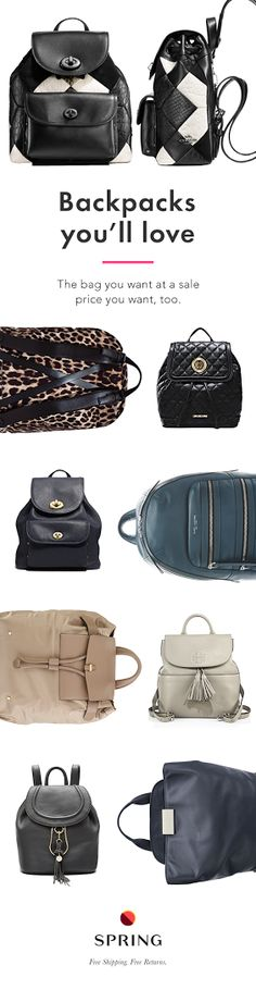 So many backpacks on sale, it's hard to pick just one. Spring has over 1,250 brands so you can always find the style you're after. Shop Spring for your perfect bag at a perfect-for-your-wallet price.