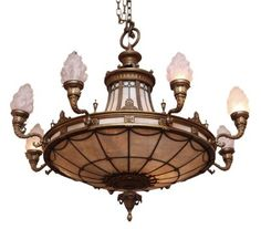 Combination rustic gas and electric slag glass chandelier glass ornate bronze chandelier from landmark nyc building mozeypictures Images