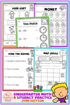 There are 37 pages of math and literacy worksheets in this resource. These pages are a fun and effective way to learn math and literacy. These pages are perfect for pre-k and kindergarten students. You can use them as classroom activities, morning work, homework, word work, distance learning, and literacy centers. Pre-K | Kindergarten | Kindergarten Worksheets | First Grade | | Phonics | Homework | Morning Work | Worksheets | Literacy Centers | Math Centers | June | Summer Literacy Worksheets, Literacy Centers, First Grade Phonics, Learn Math, Free Math, Cut And Paste, Morning Work, Kindergarten Math, Word Work
