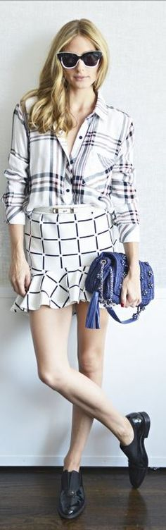 Olivia Palermo's black leather loafers, blue leather handbag, red plaid shirt, and white plaid flare skirt? - OutfitID