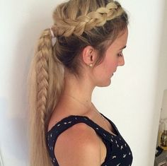 messy+side+braid+and+pony+for+long+hair