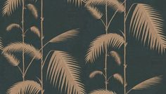 Palm Leaves (66/2014) - Cole & Son Wallpapers - Ideal for feature walls, these wallpapers are bang up to date and will create a huge impact. Palm leaves in beige on black. Spongeable wallpaper. Please order a sample for true colour match. Paste-the-wall product.
