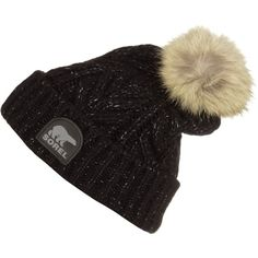 Sorel Briarcliff Pom Beanie ($130) ❤ liked on Polyvore featuring accessories, hats, chunky knit hat, oversized pom pom beanie, sorel, fur beanie and fur hat