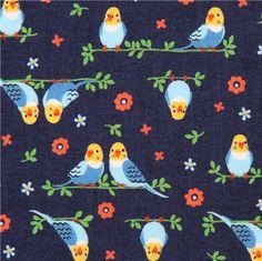 navy blue parrot parakeet bird fabric Kokka from Japan