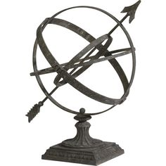 Ethan Allen Large Weathered Armillary ($201) ❤ liked on Polyvore featuring home, home decor, floral bowl, distressed home decor, ethan allen, floral home decor and spring home decor