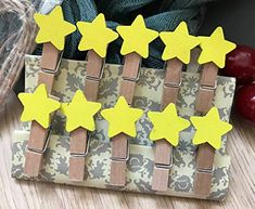 Yellow Star Design Wooden Decorative Clips,Wooden Clothespin Clips,Messages Paper Wooden Pegs,Photo Paper Clothes Cli... Cheap Party Favors, Party Favors For Kids Birthday, Christmas Party Favors, Christmas Decorations, Wooden Clothespins, Wooden Pegs, Rope Decor, Photo Craft, Hanging Ornaments