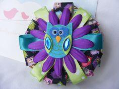 Purple and Blue Owl Flower Hair Bow