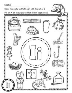Beginning Sounds: Color it! (Letter of the Week) Kindergarten Math Worksheets, Phonics Worksheets, Preschool Learning Activities, Letter I Worksheet, Beginning Sounds Worksheets, Body Preschool, Teaching Sight Words, Phonics Sounds, Owl Classroom
