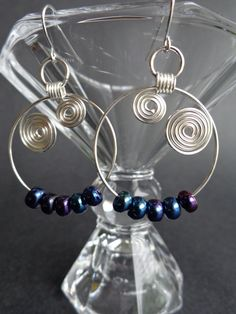 Spiral Hoop Earrings, Peacock Earrings, Dangle Earrings, Wire Wrapped Jewelry, Handmade by Iris Jewelry Creations.