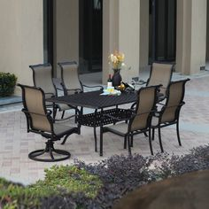 Darlee Monterey Bay 7-Piece Antique Bronze Aluminum Patio Dining Set