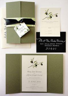 SAMPLE Tuscan Olive Gate Fold Wedding Invitation by NooneyArt