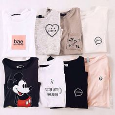 Wheretoget - White, black, grey and pink tee-shirts with printed words or with printed Mickey Mouse picture