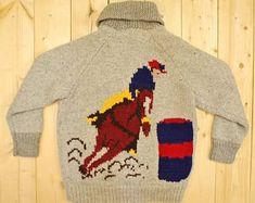 Vintage Grey Cowichan Sweater - Perfect vintage fade and wear - Metal zipper - Barrel racing pattern with initial 'M' on front - Pockets - Excellent vintage condition Chest - Waist - Length - Shoulders - N/A Sleeve - (collar to cuff) Girls Sweaters, Vintage Sweaters, Cowichan Sweater, Pretty Outfits, Pretty Clothes, Equestrian Outfits, Denim Flares, Barrel Racing, Vintage Knitting