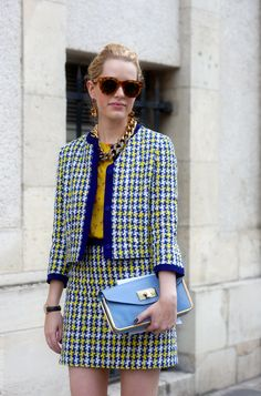 Houndstooth will be the A/W pattern of choice, here is a colourful twin suit example shot in Paris by the wonderful Wayne Tippetts