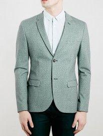 Topman Light Green Skinny Fit Jersey Blazer