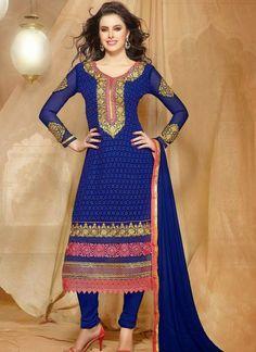 Marvelous #Blue #Georgette #Churidar Suit