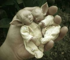 """Callie and Cassie"" Polymer Clay Baby Doll Troll Elf Sculp OOAK by Ursula 