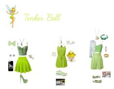 """""""Disney Bound: Tinker Bell from Peter Pan"""" by the-shadowrider on Polyvore featuring Disney Couture, Disney, Danielle Nicole, Casetify, Bee Goddess, Andrea Fohrman, Allurez, Versace, Moschino Cheap & Chic and Jean-Paul Gaultier"""