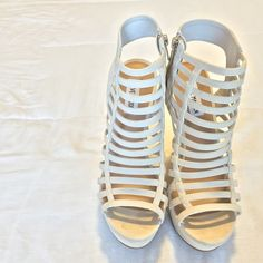 Steve Madden multi strapped wedges Wedges in great condition. Worn once for a wedding. Color: nude Steve Madden Shoes