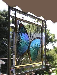 Blue Morpho Butterfly in Bevels by felicia