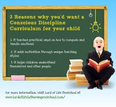 3 Reasons why you want a Conscious Discipline Curriculum for your child. Conscious Discipline, Consciousness, Other People, Infographics, Curriculum, Preschool, Lord, Ads, Teaching