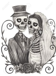 skeleton bride and groom drawing - Google Search