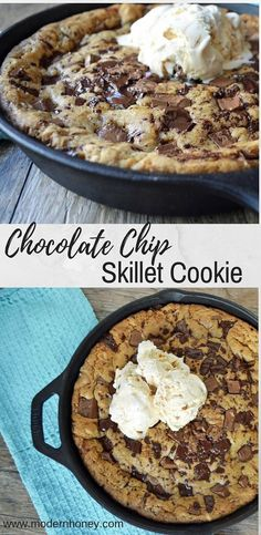 Lady's Chocolate Chip Skillet Cookie is a warm, ooey, gooey chocolate chip cookie topped with vanilla bean ice cream. It all starts with browning the butter in a cast iron skillet and adding both white and brown sugar, then stirring until nice and smooth. It will look like smooth caramel and smells like homemade toffee. A pizookie or skillet pizza cookie is basically a cookie shaped like a pizza and is one famous dessert. This is the BEST chocolate chip skillet cookie pizookie recipe ever!