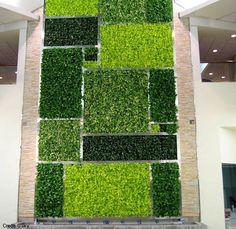 Mondrianish in a vertical go green kind of way verde externa artificial Green Wall Design - Vertical Garden Designs - Living Wall Design Artificial Grass Garden, Artificial Green Wall, Vertical Green Wall, Vertical Garden Design, Vertical Gardens, Succulent Landscaping, Outdoor Landscaping, Go Green, Living Green Wall