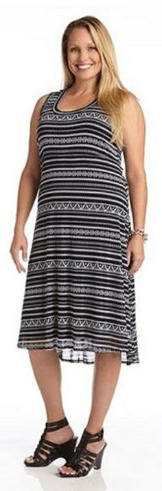 PLUS SIZE LIBERATED STRIPE EXTENDED HEM DRESS A newer design from Karen Kane, the hi lo hem dress is back and ready for another season. A stretchy mesh fabric overlays the fully lined body for breatheable coverage. Style with a crisp white blazer and wedges for a Spring ready look.  #Plus_Size #Extended_Hem #Dress #Fashion #Karen_Kane