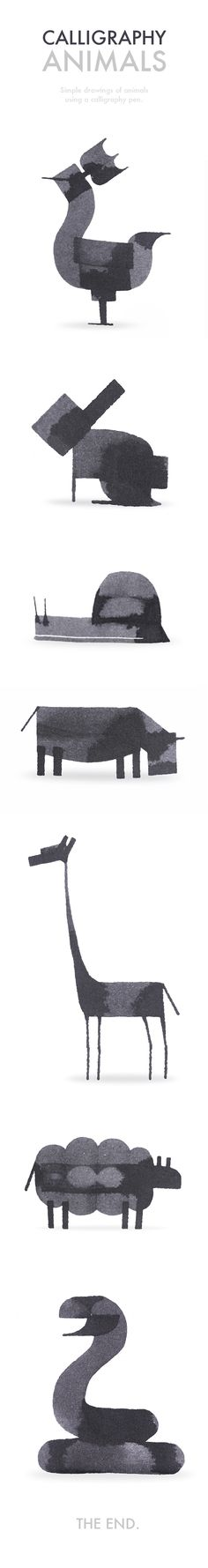 Even More Calligraphy Animals by Andrew Fox, via Behance