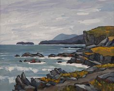Holyhead Mountain by British Contemporary Artist David BARNES Landscape Art, Landscape Paintings, Acrylic Paintings, Painting Techniques, Kyffin Williams, Folk Art, Cool Pictures, Abstract Art, Art Gallery
